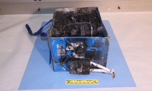 NTSB photo of the burned auxiliary power unit battery from a JAL Boeing 787 that caught fire on Jan. 7 at Boston's Logan International Airport.