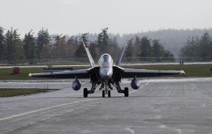 A CF-18 was the last aircraft to be guided to a safe landing at 19 Wing Comox using the Precision Approach Radar before its decommissioning on June 28, 2013.   Photo by: Sgt Robert Bottrill, 19 Wing Imaging