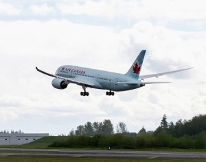 Air Canada's First Boeing 787 pictured here departing on a previous test flight.